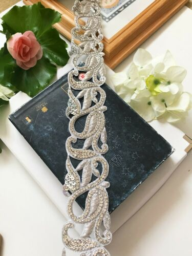1.4 M Indian Silver Diamonte Lace Trim Handmade Wedding Dress Bridal Belt Craft