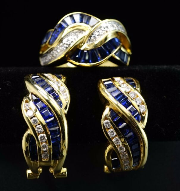 18K Yellow Gold Diamond Natural Sapphire Earrings Ring Set Designer Signed