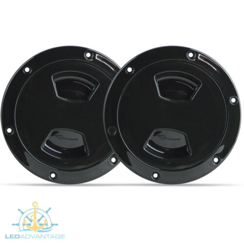 """2 X BLACK 6/"""" BOAT MARINE LARGE INSPECTION WATER OIL PETROL GAUGE VIEW PORTS"""