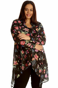 New-Womens-Plus-Size-Shirt-Ladies-A-Line-Floral-Print-Collared-Button-Top-Blouse