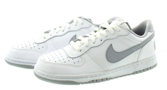 a18ea70f65c Nike Big Nike Low 355152-106 White Wolf Grey Leather Basketball ...