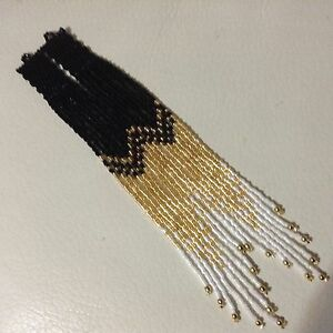 Details About Long Ombré Boho Native 7 1 4 Delica Seed Beaded Earrings Black Gold White