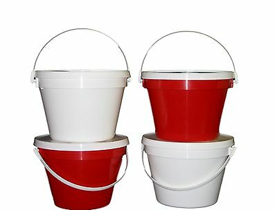 4 1 Gallon Buckets Lids 2 ea Blue Red Made America Lead Free Food Safe Air Tight