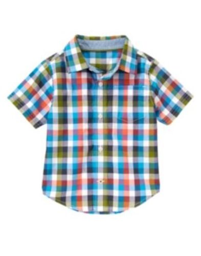 GYMBOREE DINO DAY CAMP MULTI COLOR CHECK WOVEN SHIRT TOP 18 24 2T 3T NWT