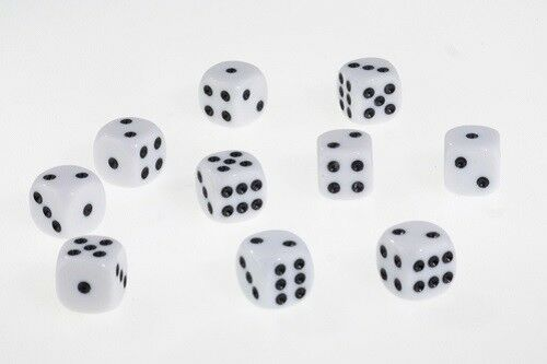 Dice Opaque Set of 10 White D6 Dice 16mm