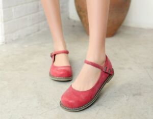 Vogue-Womens-Girls-Flats-Round-Toes-Oxfords-Mary-Janes-Retro-Buckle-Strap-Shoes