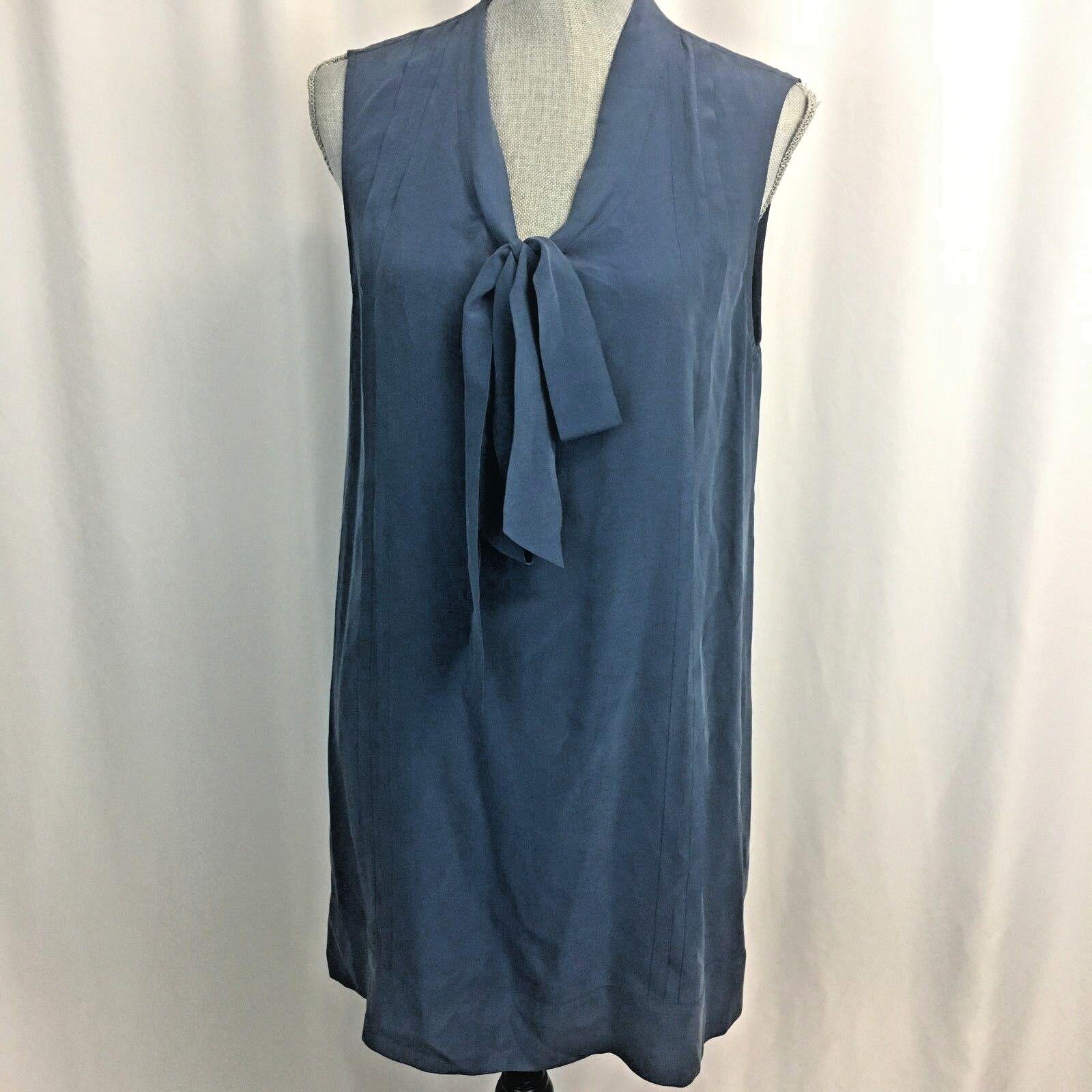 JOIE Medium M 100% Silk Blau Tie Sleeveless Button Work Dress Tunic Blouse Top
