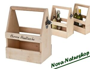 holz bierkasten zum tragen holz biertr ger mit ffner herrenhandtasche ebay. Black Bedroom Furniture Sets. Home Design Ideas