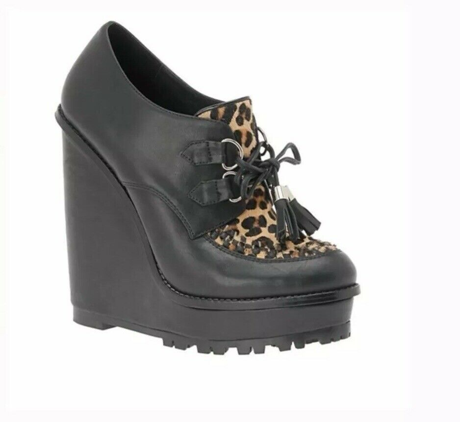 New Aldo donna Roder Wedge Ankle avvioie Leopard  Calf Hair with tassells SZ 6  punto vendita