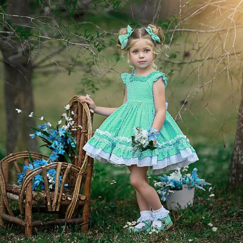 Kids Girls Princess Dress Flying Sleeves Open Back Ruffled Tutu Skirts Costumes