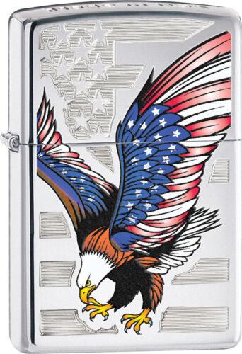 Zippo Briquet Eagle Drapeau Amérique Coupe-vent USA Neuf 28449