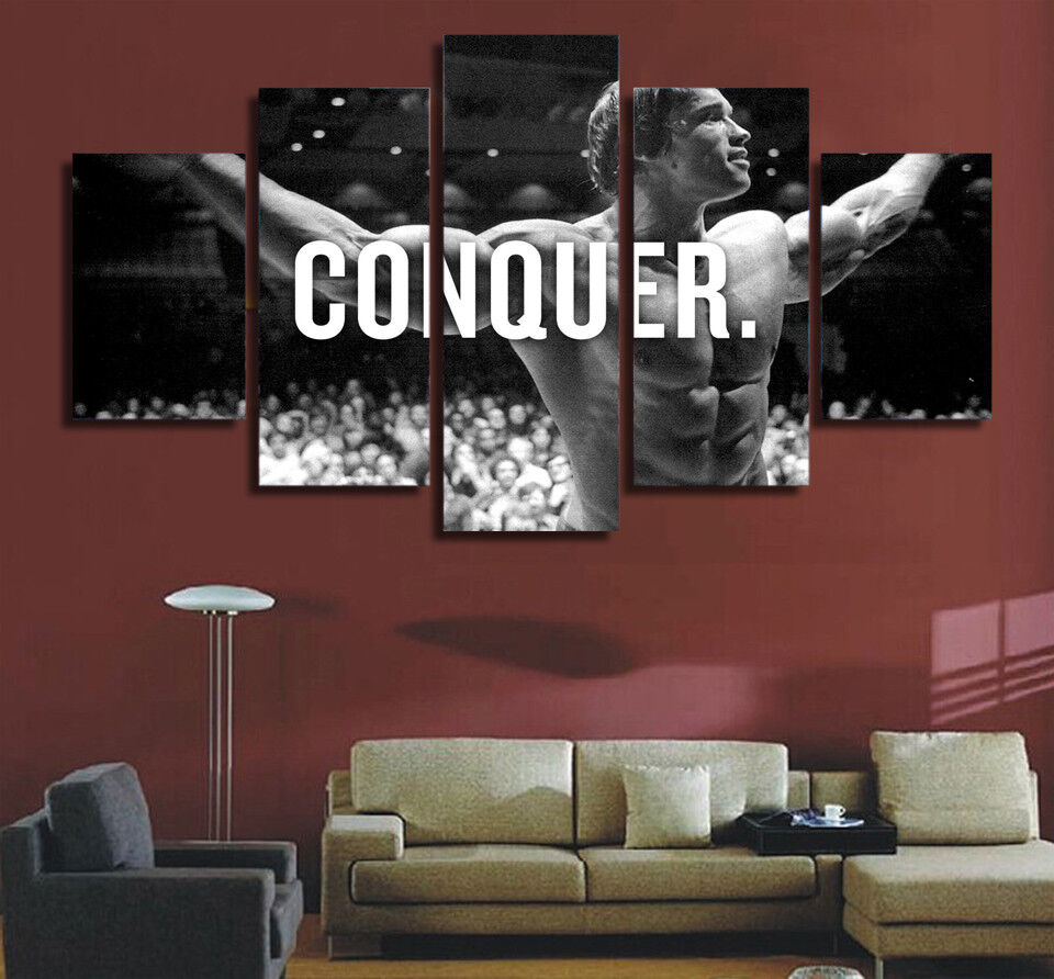 Arnold Schwarzenegger Conquer 5 Panel Canvas Print Wall Art