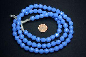 20 Stück böhmische facettierte Glasperlen 8 mm Opal blau