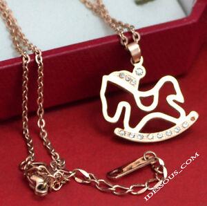 Damen-Goldkette-Halskette-18-Karat-Anhaenger-Collier-Schmuck-Zirkonia-Pferd-29