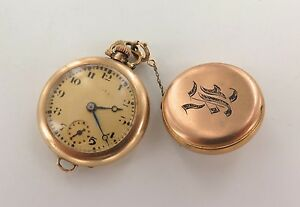 1918 ILLINOIS 14K GOLD NURSES WATCH GRADE 903, MODEL 1, 6/0 15J KETCHAM BROOCH