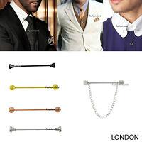 NEW Mens  5.5cm Tie Pin Bar Collar Barbell Ball Silver Gold Black Suit Shirt