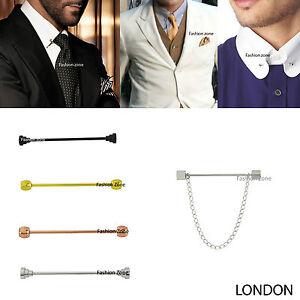 Nouveau-hommes-5-5cm-tie-pin-bar-col-barbell-boule-or-argent-costume-noir-shirt