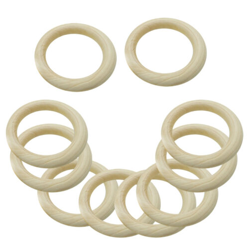 30x Natural Wooden Baby Teething Ring for Bunny Sensory Teether Gift Toy DIY