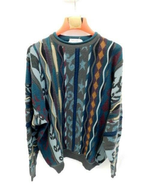 VINTAGE COOGI STYLE SWEATER SZ XL STREETWEAR DRY CLEANED HIP HOP ST CROIX KNITS