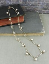 Carolee Sterling Silver Tube Necklace w/ Dangling Pearls & Toggle Clasp