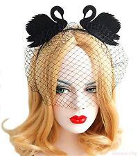 Swan Headband Black Net Veil Hair Band Fancy Dress Hen Party Bird Cosplay Wear