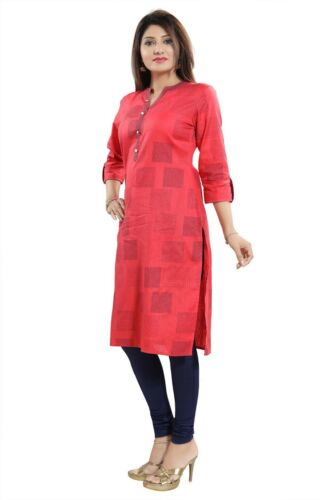 Women Indian Kurti Tunic Kurta Shirt Dress Cotton Pink Printed MM188