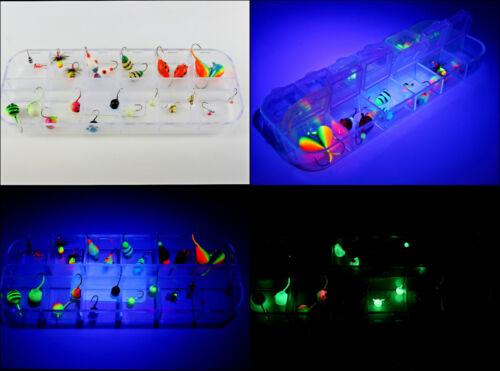 24 jigs in BOX glow//non glow// UV// galvanic Tungsten ICE JIGS KITS  from SHARK