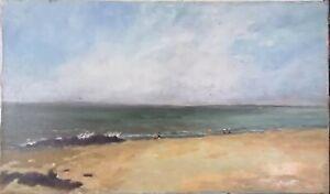 tableau-huile-sur-toile-Scene-de-plage-signee-034-034-034