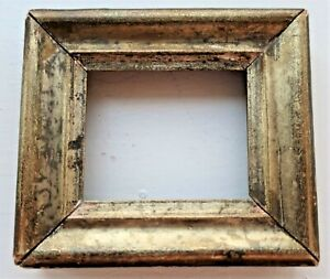 """SM MINIATURE FITS 2.5X3"""" ANTIQUE GOLD GILT WOOD PICTURE FRAME DOLL HOUSE COUNTRY"""