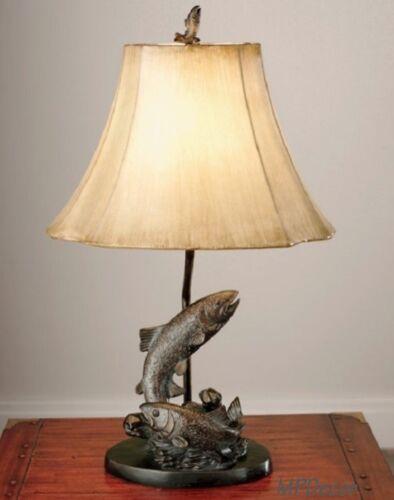 "Lake Trout Fish Table Lamp Fishing Bronze Finish  Rustic Cabin Lodge Decor 25/""H"