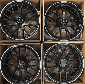Mercedes Benz Rims >> Details About 19 Mercedes Benz Amg S63 S65 S560 Gt Wheels Rims Flat Black Genuine Germany 2019