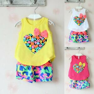 Toddlers-Kids-Baby-Girls-Summer-Outfits-Clothes-Vest-Tops-Beach-Pants-2PCS-Sets