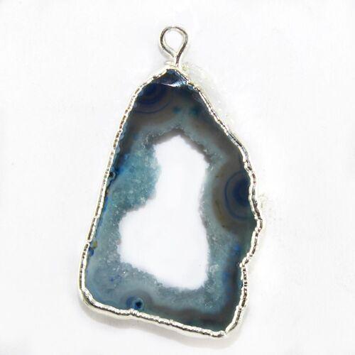 Blue Natural Geode Agate Slice Silver Plated Fashion Designer Make DIY Connector
