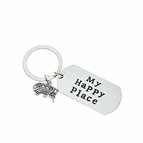 Happy Camper RV Keychain Camping Jewelry Happy Camper Keyring with Van Charm Trailer Christmas Vacation Gift