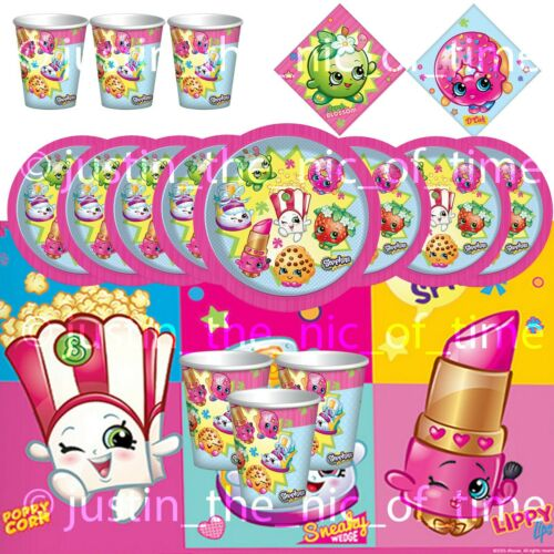 SHOPKINS Girls Birthday Party Tableware Plates Cups Napkins Tablecover Kits etc