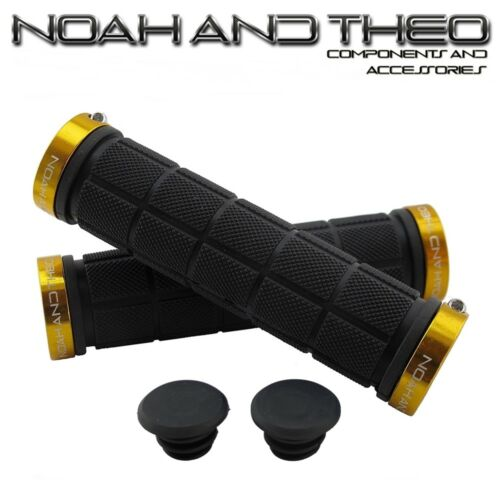 Noah And Theo Double Lock On Mountain Bike Bicycle Handlebar Grips BLACK GOLD