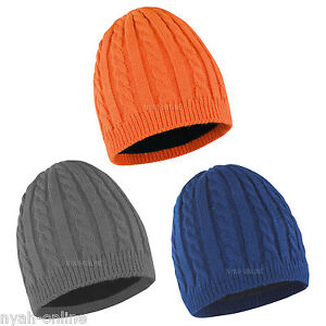 f76d0ea322b NEW CABLE KNITTED BEANIE HAT  PLAIN  MENS WOMENS UNISEX WARM WINTER ...