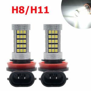 Mejor-1-par-H11-H8-66-SMD-LED-Blanco-Niebla-Bombillas-Canbus-Libre-De-Error-Decodificador