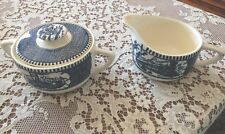 Royal CURRIER & IVES China BLUE Sugar Bowl w/ Lid & Creamer Set STEAMBOAT TRAIN