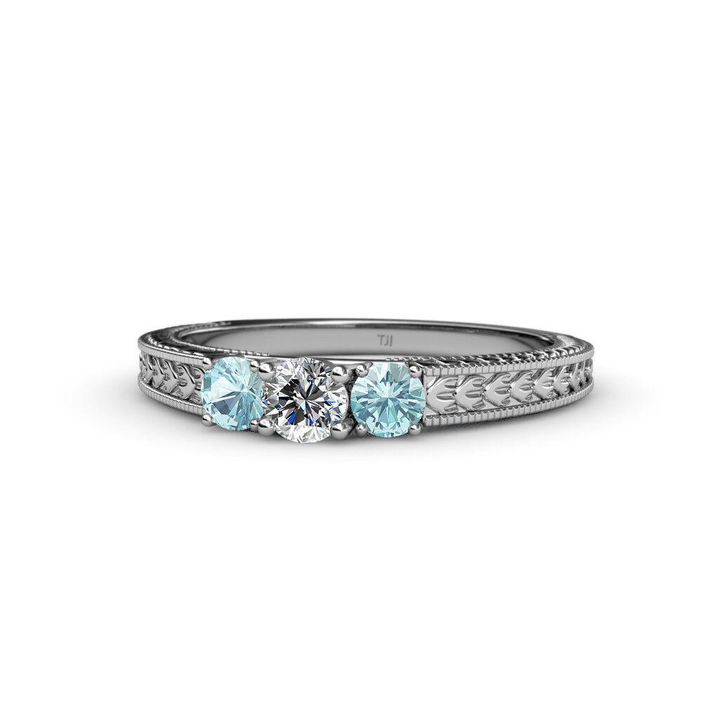 Diamond and Aquamarine Three Stone Ring with Milgrain Work 0.50 cttw in 14K gold