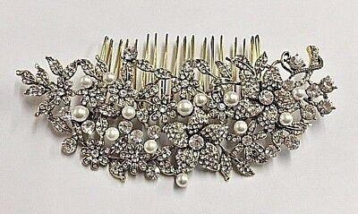 Abile Bellissimo Stile Vintage Cristallo Oro Antico Grande Pettine Per Capelli Regno Unito.- Prezzo Di Vendita