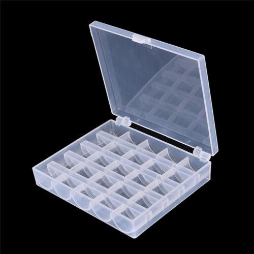 25 Cell Empty Bobbins Spools Box Sewing Machine Bobbin Case Organizer Storage ON
