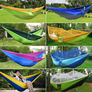 Portable Parachute Nylon Fabric Two Persons Hammock Hanging Sleeping Bed Parachute Nylon Fabric Outdoor Camping Hammocks Camp Sleeping Gear