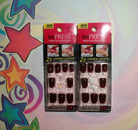 Kiss Impress Press-on 24 Gel Nails Casting Call Burgundy + Charms Choose