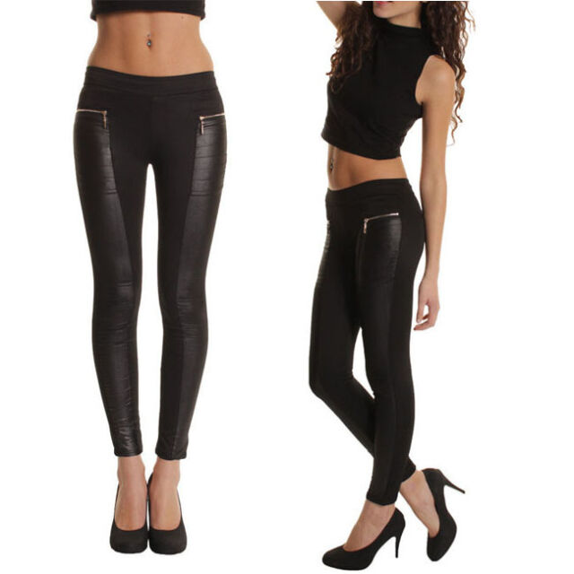 Women Faux Leather Panel Sexy Stretch Skinny Slim Leggings Pants Trousers