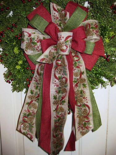 HANDMADE CHRISTMAS BOW WIRED RIBBON HOLIDAY WREATH LANTERN GARLAND # 9