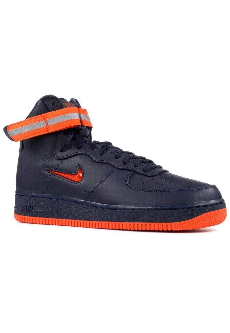 Nike Air Force 1 Hombre Alto Retro Zapatillas de Moda Talla 10.5 Naranja Azul