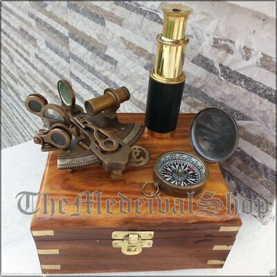 """BR48255 9/"""" Brass Leather Wrapped Telescope Wooden Box"""