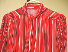 VTG 70S STRIPED SZ M RED POLYESTER KNIT ASCOT TIE BOW TOP SERETARY BLOUSE SHIRT