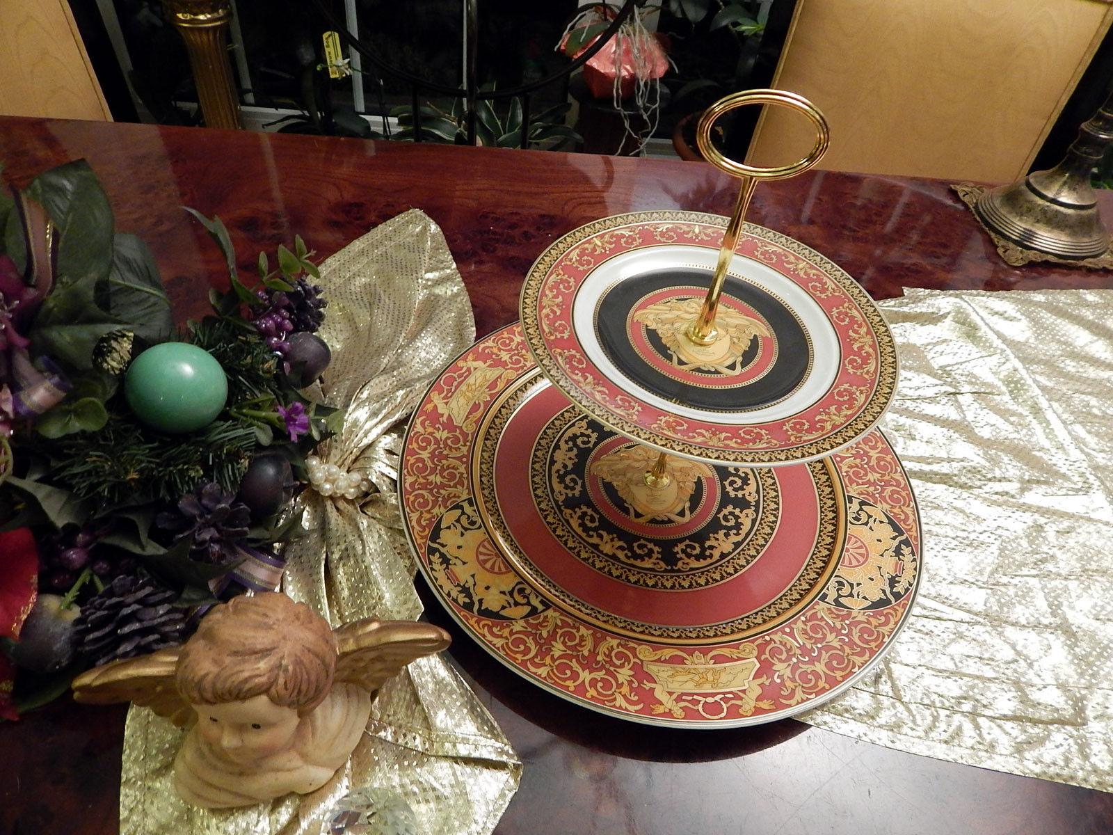 Edle riesige Etagere 31 cm Durchmesser 2stufig Rosanthal Versace Medusa rot   | Erste in seiner Klasse